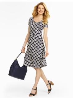 Macrame-Print Dress