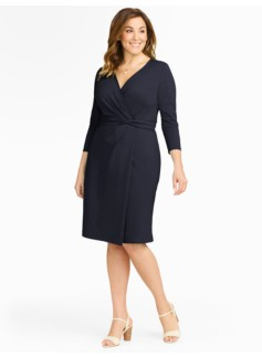 Faux-Wrap Knit Dress