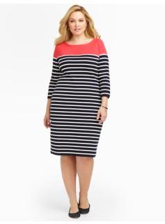 Breton-Stripes Shoulder-Button Sweater Dress