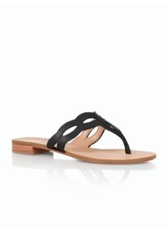Laurel Leather Cutout Scalloped Sandals