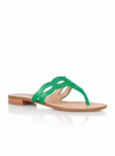 Laurel Leather Cutout Scalloped Sandals