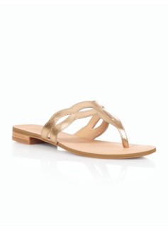 Laurel Metallic Leather Cutout Scalloped Sandals