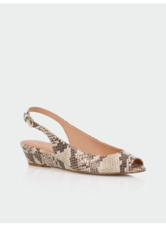 Tilley Stamped-Python Leather Slingback Wedges