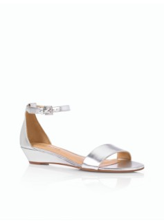 Camilla Metallic Leather Ankle-Strap Wedge Sandals