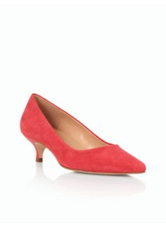 Pippa Suede Kitten-Heel Pumps
