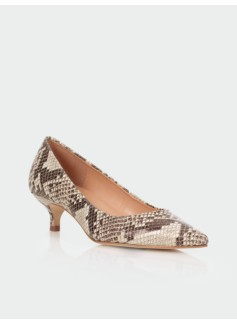 Pippa Stamped Python Leather Kitten-Heel Pumps