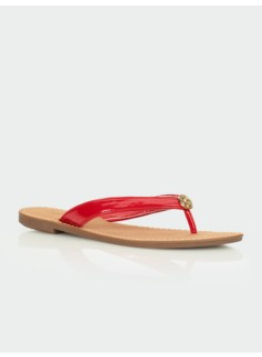 Mari Patent Finished Thong Sandal