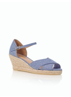Lyndsay Chambray Blue Ankle-Strap Espadrilles