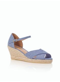 Lyndsay Chambray Blue Ankle-Strap Espadrilles