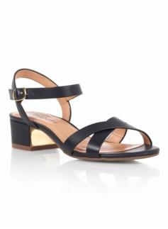 Peggy Gold-Heel Sandals