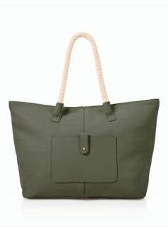 Pebbled Leather Rope-Handles Tote