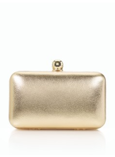 Metallic Leather Bead-Clasp Clutch