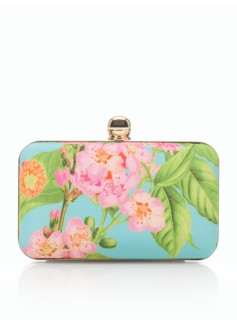 Watercolor Floral Bead-Clasp Clutch