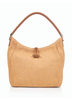 Pleated Woven Faux-Straw Tote