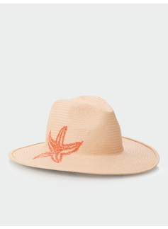 Starfish-Embroidered Straw Hat