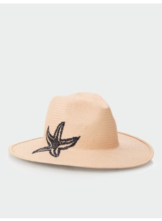 Starfish-Embroidered Straw Hat
