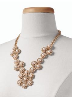 Rhinestone Daisy Bib Necklace