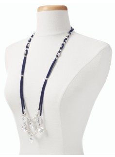 Hammered-Charm Cord Necklace