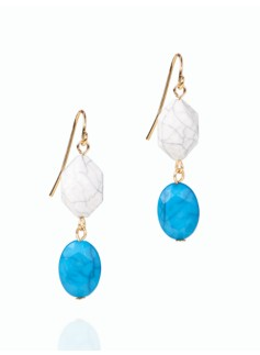 Turquoise & Disc Drop Earrings