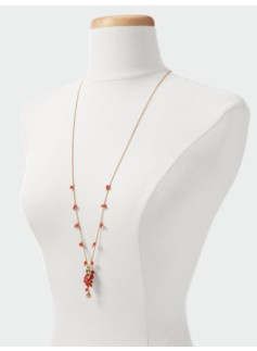 Bead-Charm Drop Necklace