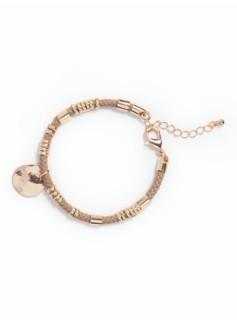 Hammered Charm & Cord Bracelet