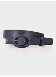 Covered Oval-Buckle Belt