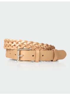 Womans Braided Metallic Leather Belt