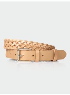 Womans Braided Metallic Leather Belt
