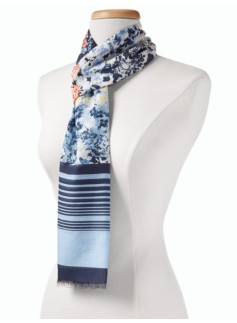Floral & Stripes Scarf