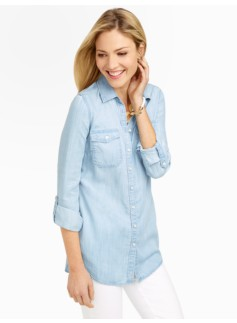 Tunic-Length Denim Shirt - Icy Bleach Wash