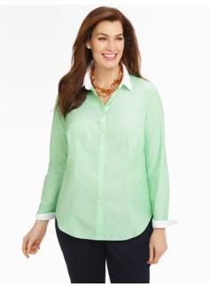 Wrinkle-Resistant Blocked-Collar End-On-End Shirt