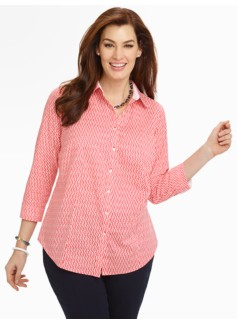 Wrinkle-Resistant Herringbone Print Shirt