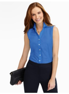 Wrinkle-Resistant End-On-End Sleeveless Shirt