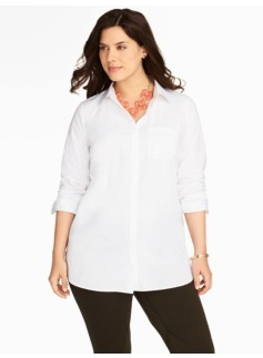 Tunic-Length Poplin Shirt