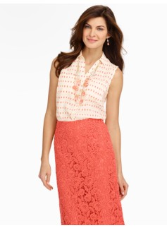 Talbots Nantucket Sleeveless Brushstroke Dots Shirt
