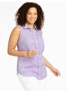 Sleeveless Cross-Dyed Linen Shirt