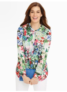 Floral Band-Collar Shirt