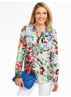 Floral Band-Collar Shirt