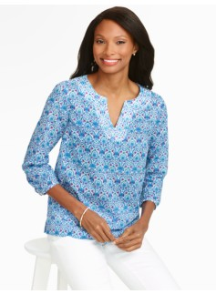 Preppy Paisley Notched-Bateau Top
