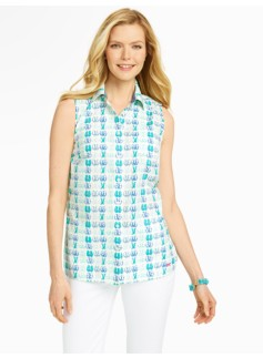 Sleeveless Flip-Flop Print Cotton Shirt