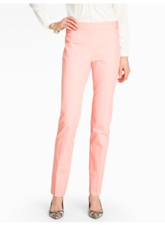 Heritage Cotton Viscose Side-Zip Straight-Leg Pants  - Lined