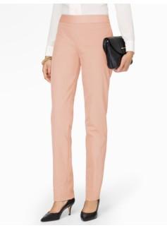 Heritage Cotton Viscose Side-Zip Straight-Leg Pants  - Lined