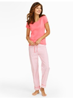 Ticking-Stripe Pajama Set