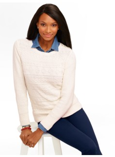 Textured Mixed-Stitch Shoulder-Button Sweater