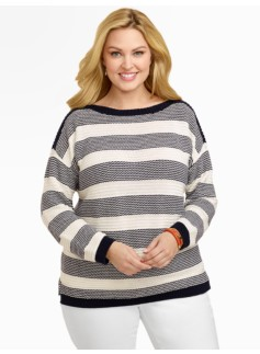 Stripe Chain-Stitched Sweater