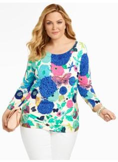 Whimsical Garden Back-Button Sweater