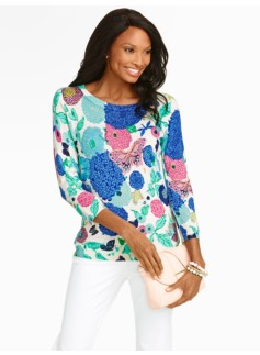 Whimsical Garden Back-Button Sweater