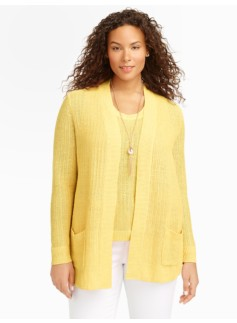 Tuck-Stitched Linen Cardigan