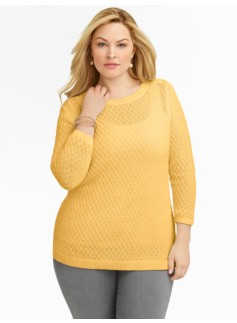 Shoulder-Button Diamond-Stitch Sweater