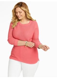Lattice-Stitched Back-Button Sweater